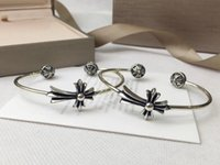 ingrosso braccialetto d'argento trasversale per gli uomini-Gioielli di tendenza braccialetto di moda cross designer, punk hip hop argento braccialetto di fascino di apertura bracciale bangle sia uomini che donne possono indossare