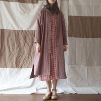 ingrosso trincea delle donne cinesi-Johnature Vintage Jacquard Trench Chinese Style Women Coat 2019 Spring New Stand manica lunga Button Cotton Blend Women Trench