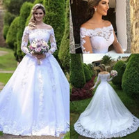 Wholesale full tulle skirt wedding dresses online - Elegant Long Sleeves sheer A Line Wedding Dresses Bateau full lace Tulle Appliques Beaded Court Train plus size Wedding Bridal Gowns