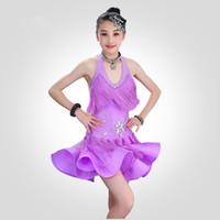 vestir salsa infantil al por mayor-Niño Niño Niños Vestido profesional de baile latino para niñas Vestidos de baile para niños Falda de lentejuelas rojas Salsa borla