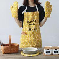 conjuntos para forno venda por atacado-esteira de tabela do laço 4 pçs / set luvas de cozinha luvas de forno de microondas luvas de cozinha cozinhar avental tabela de bakeware placemat (2 luvas de forno + 1 avental + 1 ...
