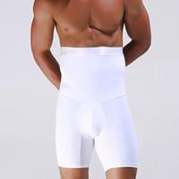 erkekler için siyah iç çamaşırı toptan satış-Erkek Vücut Zayıflama Shaper Pamuk Boxer Kısa Kumanda Külot Şekillendirme Pantolon Spor Iç Çamaşırı Şort Pantolon Shapewear Siyah beyaz