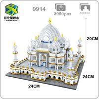 bloques de arquitectura al por mayor-Bs 9914 Arquitectura mundialmente famosa India Taj Mahal Palace Modelo 3D Diamond Mini Diy Building Nano Blocks Toy para niños No Box Y190606