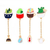 Wholesale enamelled pots for sale - Group buy Cartoon cactus Potted Plant Thermometer Water Kettle Rake Brooch Enamel Pin Chain Button Pin Denim Jacket Pin Badge Gift Jewelry