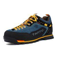 zapatos de escalada al por mayor-Nueva marca de zapatos para caminar, zapatos transpirables para exteriores, de gran tamaño 39-46, escalada para acampar, suela de goma, hombres de cuero para exteriores, zapatos para caminar