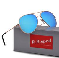 erkekler için aynalı güneş gözlüğü toptan satış-Marka tasarım Erkekler Kadınlar Için Güneş Gözlüğü Tasarımcı Ayna Klasik Pilot Polarize Güneş Gözlükleri UV400 kahverengi kılıfları ile Sürüş gözlük