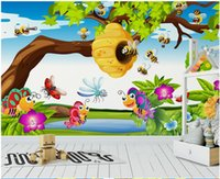 Wholesale korean cute photos for sale - Group buy WDBH custom photo d wallpaper Cute cartoon animal bee and butterfly children s room Home decor d wall murals wallpaper for walls d