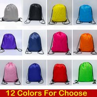 Wholesale wholesale camp clothing for sale - 12 Styles Solid Color D Polyester Cloth Drawstring Bag Sport Gym Dance Backpack Kids Clothes Shoes Bags Support FBA Drop Shipping M34F