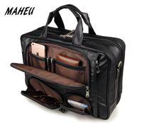 мужская сумка черного цвета оптовых-MAHEU Black Men's Leather Briefcase Travel Laptop Bags Handle Official Bussiness Bags On Wheel Mens Tote Handbag Shoulder Bag