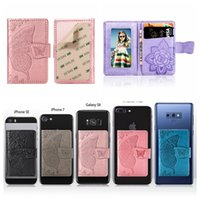 Wholesale back stickers for phones for sale - Group buy Universal Back Phone Card Slot M Sticker Leather Stick On Wallet Cash ID Credit Card Holder For iPhone XS XR Note Flower Butterfly Case