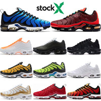 Wholesale lighting for paintings resale online - stock x TN Plus SE running shoes for mens sneaker Hyper Blue Triple Black White Volt Spray Paint Bright Cactus walking sport trainers