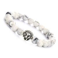 ingrosso fascino d'argento del leone-Bracciale elastico in argento per donna con bracciale in argento a forma di testa di leone con charm in argento 8mm