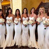 Wholesale silk long train wedding dresses resale online - White Spaghetti Straps Satin Mermaid Bridesmaid Dresses Ruched Sweep Train Wedding Guest Maid of Honor Dresses