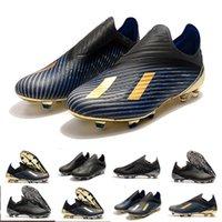 iç çizme toptan satış-Yeni Erkek Copa X19 + 19.1 FG Sıcak Slip-On Şampanya Güneş Kırmızı Futbol Ayakkabıları Çizmeler Scarpe İç Oyunu Cleats Futbol Ayakkabıları Boyutu 39-45