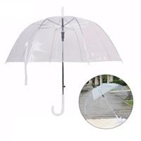kinder automatischer regenschirm großhandel-Long Handle Umbrella Transparent Ultra Light Female Kinder Sonnenschirm Halbautomatische Straight Rod Sonnenschirm Female Umbrella
