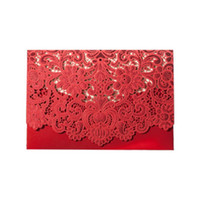 Wholesale invitation cards designs for sale - Group buy Creative Wedding Invitations Hollow Out Lace Flower Design Paper Openwork Greeting Card Party Invitation Cards Pure Color ws E1