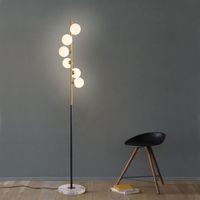 светильники для дома оптовых-Северные простые торшеры для гостиной стеклянный шар стоячая лампа золотой свет спальня творческое искусство домашнего декора светильники