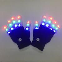 guantes de navidad iluminados al por mayor-Light Up Kids Adult Gloves Intermitente Colorido LED Finger Tip Lighting Glow Novedad Juguete de regalo para Navidad Fiesta de Halloween Disfraz de boda