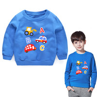 blusas de verão meninos venda por atacado-Meninos camisolas do bebê meninos hoodies verão outono primavera inverno carros camisola de manga comprida t-shirt crianças blusa infantil