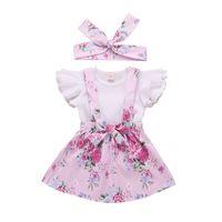 suspensórios 3t venda por atacado-Menina da criança Suspender Saia Conjunto Infantil Bebê Ruffles Tops Geral Saia Floral Conjuntos de Roupas 3 pcs set