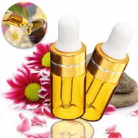 pots d'huiles essentielles achat en gros de-10pcs mini bouteille en verre ambré de 3 ml avec pipette en verre pur compte-gouttes cosmétique tubes d'échantillon de parfum pots d'huile essentielle petits flacons