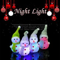 Wholesale mini night lights for sale - Group buy DHL Snowman night light christmas light decoration mini color changing light party festival decor gift present