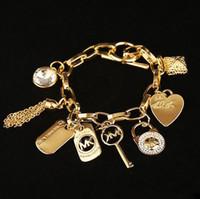 pulseiras de gem para mulheres venda por atacado-2019 hot Alloy chave pulseiras com amor coração gem 925 prata esterlina ou banhado a ouro pingentes Charme Pulseiras Bangle jóias para mulheres dos homens