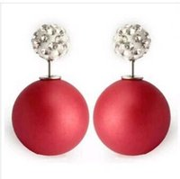 doppelseitige ohrringe groihandel-Double Sides Pearl Ohrstecker Rubber Double Ball Bead Ohrstecker rincos Shining Full Crystal Earring