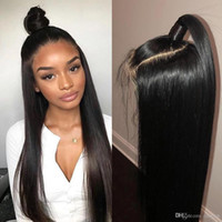 ingrosso bang parrucche brasiliane-360 Parrucca Frontale Pizzo Pre Pizzicato Con Capelli Baby Remy Anteriore Del Merletto Parrucche Brasiliane Capelli Lisci Bob Bang Parrucche + parrucca netto