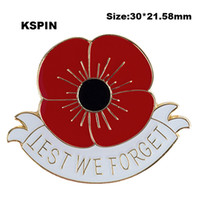 White Less We Forget Poppy Flower Lapel Pin Flag Badge Lapel Pins Badges Brooch XY0122