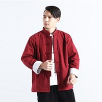 Wholesale disc stand online – Ropa De Hombre Summer New Men s Stand Collar Chinese Improved Disc Button Linen Color Shirt Chemise Homme