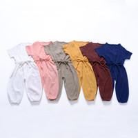 vêtements d'été petite achat en gros de-Petite fille Casual Combinaisons Enfants Couleur Unie O-cou Laçage Lanterne Combinaisons Bébé Garçon Été Combinaison Bébé Infantile Fille Designer Vêtements
