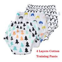 kleinkind ausbildung unterwäsche großhandel-Töpfchen Hose 4 Schichten Mehrweg Unterwäsche für Kleinkinder Weiche Baumwolle Trainingshose Hochwertige Stoffwindeln