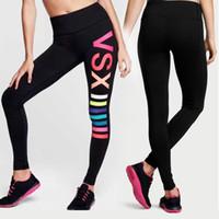 koşu kıyafeti kızlar toptan satış-Kadınlar VS Aşk Pembe Gym Yoga Tayt Tayt Victoria Kızlar Spor Koşu Pantolon Gizli Emici Çabuk kuru Tozluk Giysileri Artı Boyutu