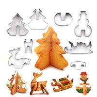 Wholesale 3d cookies resale online - NWE Set Creative Stainless Steel Cutter Christmas D Type Cracker Cookie Mold Candy Making Molds