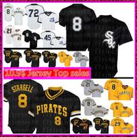 beyaz formaları beyzbol toptan satış-Chicago White Erkek Sox 8 Bo Jackson forması Pittsburgh En İyi Korsanlar 8 Willie Stargell Beyzbol 72 Carlton Fisk 21 Roberto