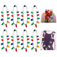 collar de navidad iluminado al por mayor-Collar de bombilla de Navidad con luz LED para niños y adultos Collar de luces de cadena Decoraciones de Navidad Favores de fiesta de Navidad HH9-2414