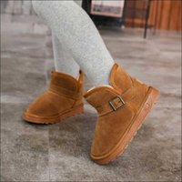 Wholesale boys warm shoes resale online - Kids Shoes Boys Leather Snow Boots for Toddlers Boots With Fur Warm Children Footwear Girls Snow Boots