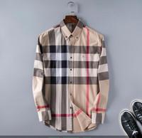 ingrosso camicie con colletto-2020 autunno inverno manicotto lungo camice casuali una camicia uomini a rotazione collare stampato a colori Stampa Slim Fit medusa seta Camicie GG336