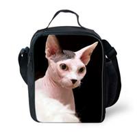 çanta kedi baskısı toptan satış-Özelleştirilmiş Kanadalı Hairless Sfenks kedi Baskı Öğle Yemeği Çantası Termal kutu Çocuk Boys Piknik Çanta Totebag Soğutucu Taze Tutmak depolama