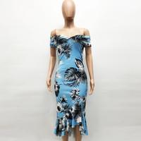 vestido casual de hoja de loto al por mayor-Envolver el pecho vestido de impresión de dobladillo de hoja de loto apretado sexy envuelve el vestido de pecho Vestido sexy
