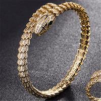 18k gold schlangenarmband großhandel-Mode grüne augen schlange armbänder hot luxury designer klassische armreifen herren frauen gold silber hochzeit armband armreifen paar armbänder