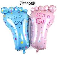 mädchen füße spielzeug großhandel-Rosa Mädchen blau junge Füße Ballon Baby niedlich klassisches Spielzeug Folienballons Geburtstagsfeier Dekoration 79 * 46cm