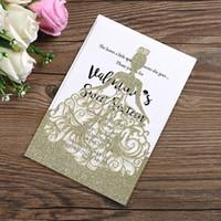 ingrosso caso di carta pieghevole-Biglietti per inviti di nozze glitterati personalizzati Carte per cut-out sciabordanti tagliate al laser 2019 Nuove bomboniere personalizzate