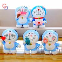 boneca gato doraemon venda por atacado-Japão Doraemon Brinquedos De Pelúcia Para O Dia Dos Namorados Anime Robert Blue Cat Coração Ice Cream Donut De Pelúcia Bonecos De Animais Para presente Das Crianças