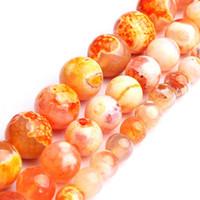 ingrosso gioielli di pietre arancioni-Perle di pietra naturale Orange Fire Dragon Veins Agata rotonda branello allentato per monili che fanno collana braccialetto fai da te 6 8 10 millimetri 15 pollici