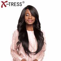 ombre, laço, peruca, franja venda por atacado-X-TRESSSynthetic Lace perucas peruca longa reta com estrondo ondulado Médio lado parte resistente ao calor Ombre perucas para mulheres negras