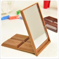klappspiegelkamm großhandel-New Design Schokoladen-Spiegel-Verfassungs-Kosmetik-Taschenspiegel Folding beweglichen Taschen-bewegliche Hand Spiegel mit Kamm Make-up-Tool