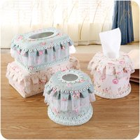 Wholesale art tissue resale online - Lace Fabric Tissue Box Countryside Lace Fabric Art Eco Friendly Napkin Case Home Car Napkin Container