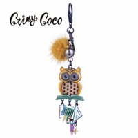 брелоки для мальчиков оптовых-2019 Cute Owl Key Ring Women Chain Alloy Metal Yellow Pompom Keychain for Girl Boy Gifts Keychains Leather Animal Bird Keyring